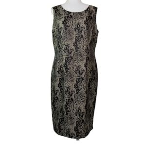 Kasper Lined Snakeskin Print Sheath Dress  EUC